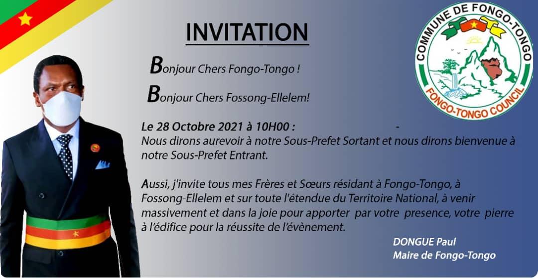 Cérémonie de passation de commandement entre les Sous-préfets Sortant et Entrant de Fongo-Tongo : l'invitation du Maire Paul DONGUE